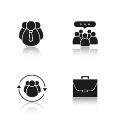 Business drop shadow black icons set vector