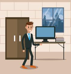 Business worker in office vector