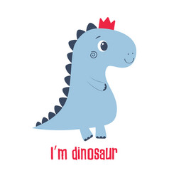 cartoon dinosaur on white vector image