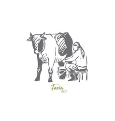 Cattle concept sketch isolated vector
