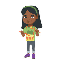 cheerful african-american girl playing the drum vector image