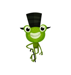 Cheerful frog with black top hat and cane funny vector