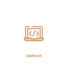 Compiler concept 2 colored icon simple line vector