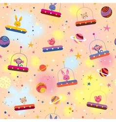 Cute animals in spaceships kids pattern vector