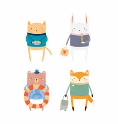 Cute animals on summer holidays vector