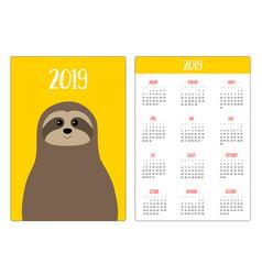 cute sloth animal head face simple pocket vector image