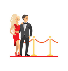 Famous celebrities couple on red carpet isolated vector