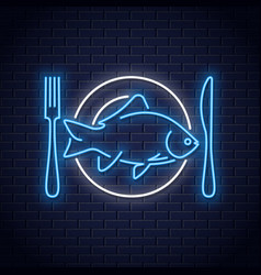 fish on plate neon sign plate with fork and knife vector image