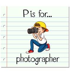 Flashcard alphabet P is for photographer vector