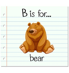 Flashcard letter B is for bear vector image