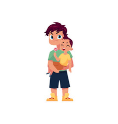 flat adult man and infant baby vector image