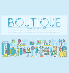 Flat outline seller standing in boutique with vector
