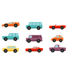 flat style cars set vector image