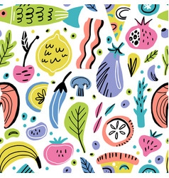food flat hand drawn seamless pattern vector image