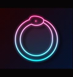 Glowing neon line magic symbol ouroboros icon vector