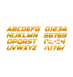 gold letters and numbers set golden gradient vector image