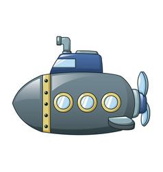 grey submarine icon cartoon style vector image