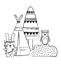 Grunge rabbit and owl animal with camp and bush vector