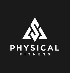 Gym logo physical fitness trainer modern shape vector