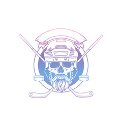 hand drawn sketch hockey player skull vector image