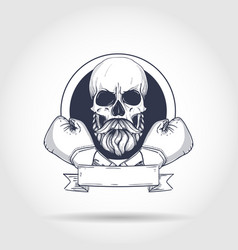 Hand drawn skull with boxing gloves vector