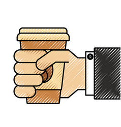 hand holding takeaway coffee cup fresh drink vector image