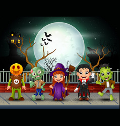 Happy halloween kids in full moon background vector