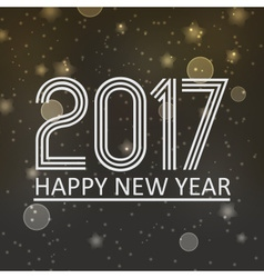 happy new year 2017 on dark night bokeh background vector image