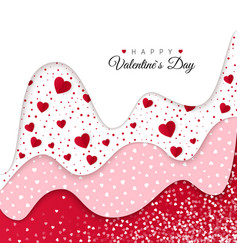 happy valentines day greeting card red wavy vector image