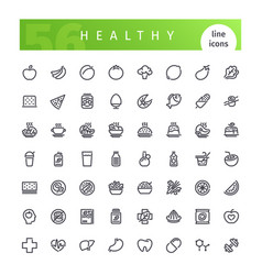 Healthy food line icons set vector