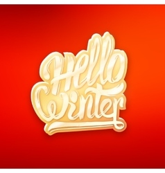 Hello winter text lettering for greeting card vector image