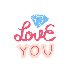 I love you lettering doodle quote with ring vector