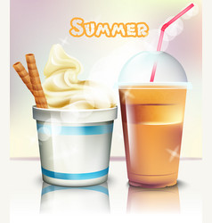 ice cream and frappe realistic summer vector image
