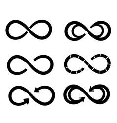 Infinity symbols eternal limitless endless life vector