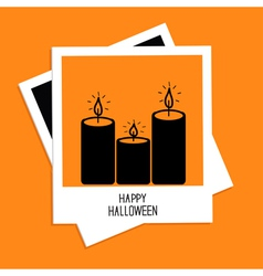 Instant photo with candle set Happy Halloween card vector image
