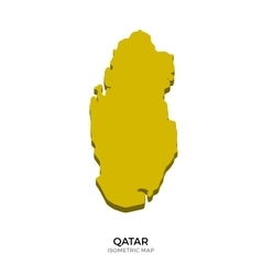 Isometric map of Qatar detailed vector image