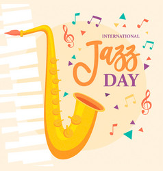 jazz day poster of saxophone music instrument vector image