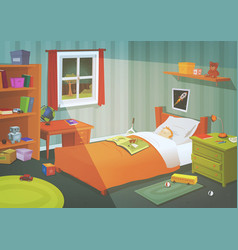 Kid or teenager bedroom in the moonlight vector