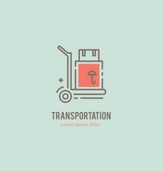 line cargo cart logo vector image