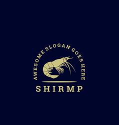 logo shrimp vintage badge style vector image