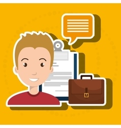 Man with suitcase and papers isolated icon design vector