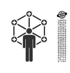 Medical network administrator icon with men bonus vector
