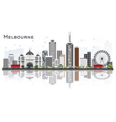 melbourne australia city skyline with gray vector image