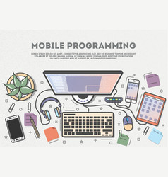 Mobile programming top view banner vector
