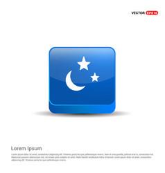 Moon star icon - 3d blue button vector