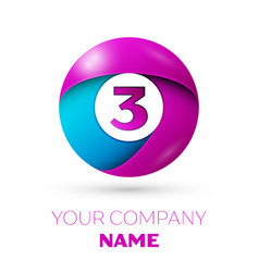 Number three symbol in the colorful circle vector