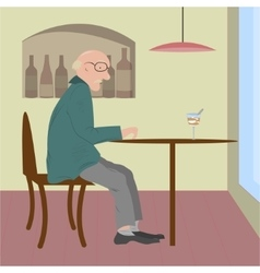 old woman sitting in a cafe vector image