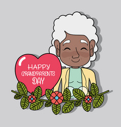 Old woman with branche design and heart vector