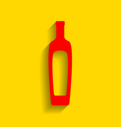 olive oil bottle sign red icon with soft vector image