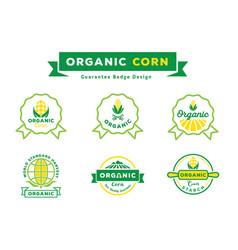 Organic corn guarantee badge design set vector